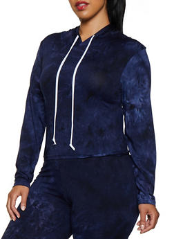 Plus Size Tie Dye Hooded Top - 3927072290134