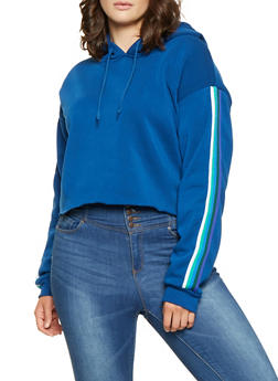 Plus Size Striped Tape Trim Sweatshirt - 3927072290149