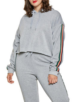 Plus Size Striped Tape Hooded Sweatshirt - 3927072290150