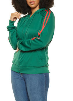 Plus Size Hooded Track Jacket - 3927072290228