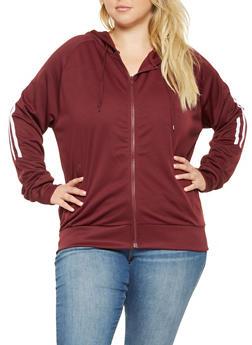 Plus Size Hooded Track Jacket - 3927072290228