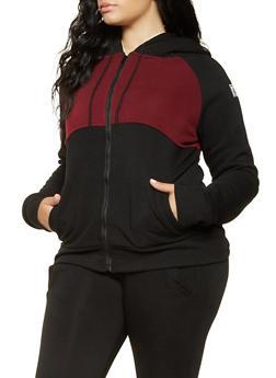 Plus Size Love Graphic Hooded Sweatshirt - 3927072290249