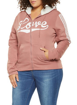 Plus Size Love Graphic Sweatshirt - 3927072290253