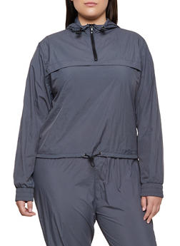 Plus Size Half Zip Hooded Windbreaker - 3927072290503