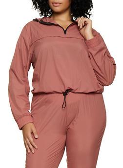 Plus Size Half Zip Hooded Windbreaker - 3927072290503