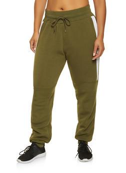 Plus Size Color Block Sweatpants - 3927072290951