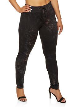 Plus Size Tie Dye Drawstring Waist Leggings - 3927072291113