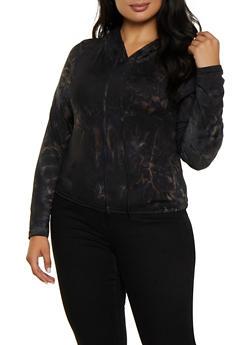 Plus Size Tie Dye Hooded Top   3927072291114 - 3927072291114