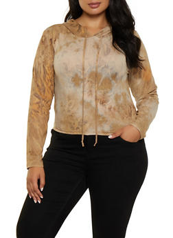 Plus Size Tie Dye Hooded Top | 3927072291114 - 3927072291114