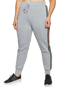 Plus Size Striped Tape Joggers - 3927072291150