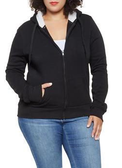 Plus Size Sherpa Hooded Sweatshirt - 3927072291176