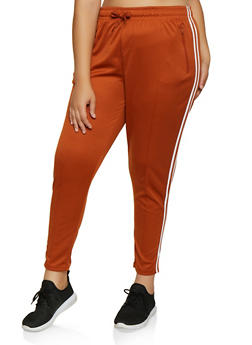 Plus Size Varsity Stripe Pintuck Track Pants - 3927072291190