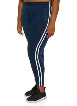 Plus Size Varsity Stripe Pintuck Sweatpants - 3927072291199