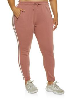 Plus Size Varsity Stripe Pintuck Sweatpants - 3927072291199