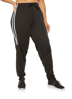 Plus Size Varsity Stripe Track Pants - BLACK - 3927072291228