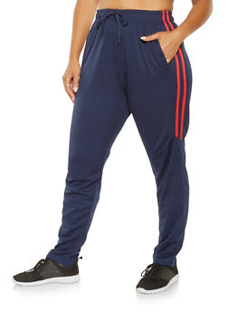 Plus Size Varsity Stripe Track Pants - 3927072291228