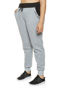Plus Size Love Graphic Sweatpants - 3927072291249