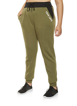 Plus Size Love Graphic Sweatpants - 3927072291249