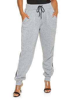 Plus Size Striped Tape Detail Sweatpants - 3927072291251