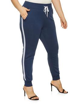 Plus Size Striped Tape Detail Sweatpants - 3927072291251