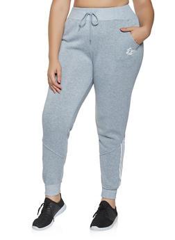 Plus Size Striped Detail Sweatpants - 3927072291253