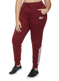 Plus Size Striped Detail Sweatpants - 3927072291253