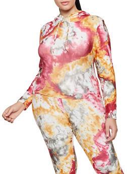 Plus Size Tie Dye Hooded Soft Knit Top - 3927072291374