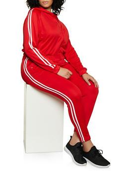 Plus Size Varsity Stripe Hooded Track Jacket - 3927072292190