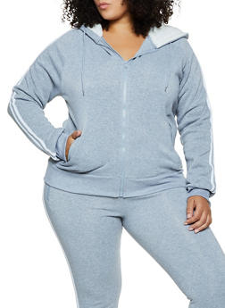 Plus Size Sherpa Lined Hood Zip Sweatshirt - 3927072292299