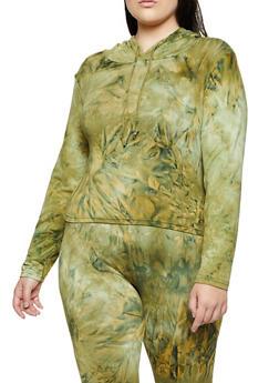 Plus Size Tie Dye Hooded Top   3927072293333 - 3927072293333