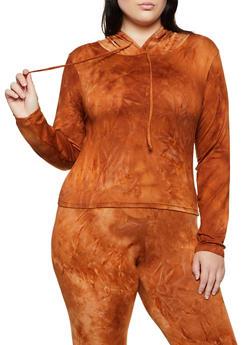Plus Size Tie Dye Hooded Top | 3927072293333 - 3927072293333