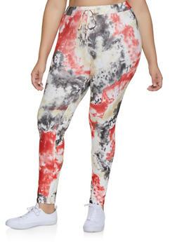 Plus Size Tie Dye Drawstring Leggings - 3927072297413