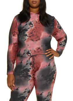 Plus Size Hooded Tie Dye Top - 3927072297720