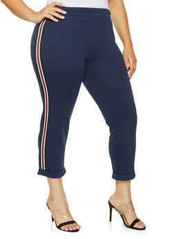 Plus Size Striped Tape Sweatpants - 3928054210883