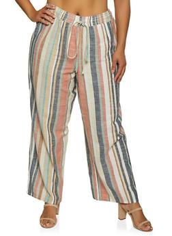 Plus Size Striped Linen Pants | 3928056122059 - 3928056122059
