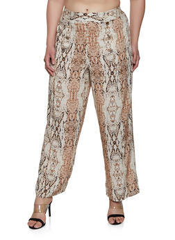 Plus Size Snake Print Sailor Pants - 3928056129609
