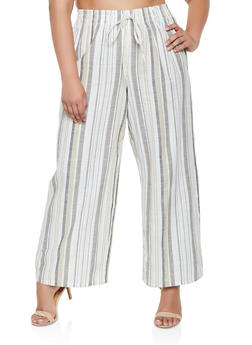 Plus Size Striped Linen Palazzo Pants | 3928056129702 - 3928056129702
