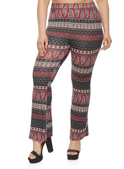 Plus Size Printed Flared Stretch Pants - 3928061356250