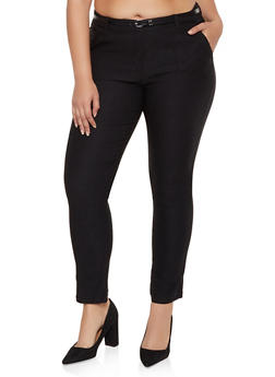 Plus Size Stretch Belted Dress Pants - 3928068193057