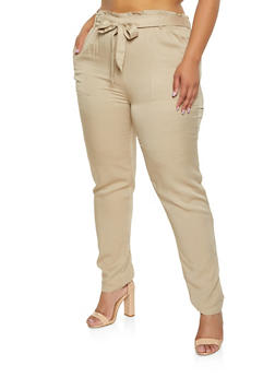 Plus Size Ruffled Tie Waist Pants - 3928068193087