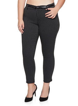 Plus Size Polka Dot Belted Dress Pants - 3928068193377