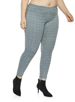 Plus Size Plaid Dress Pants - 3928068193858