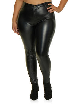 Plus Size Coated High Waisted Pants - 3928068199433