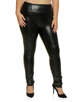 Plus Size Faux Leather Skinny Pants - 3928068199494