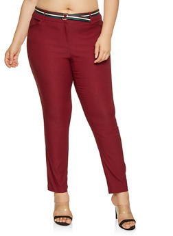 Plus Size Belted Stretch Pants - 3928068511564