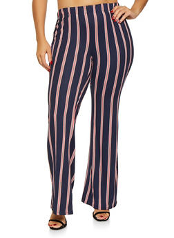 Plus Size Soft Knit Striped Palazzo Pants - 3928068511620