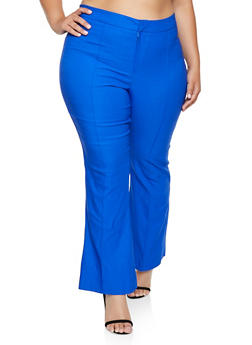 Plus Size Pintuck Stretch Flared Pants - 3928068514343