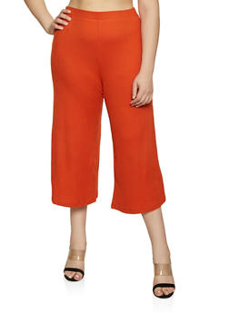 Plus Size Cropped Rib Knit Gaucho Pants - 3928069390837