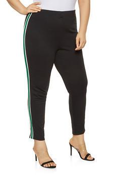Plus Size Side Stripe Ponte Pants - 3928069395092