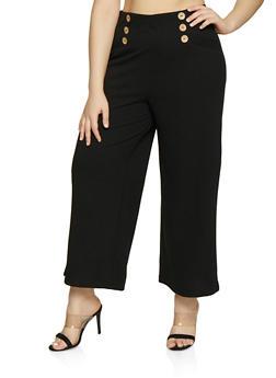 Plus Size Button Detail Gaucho Pants - Black - Size 1X - 3928069395230